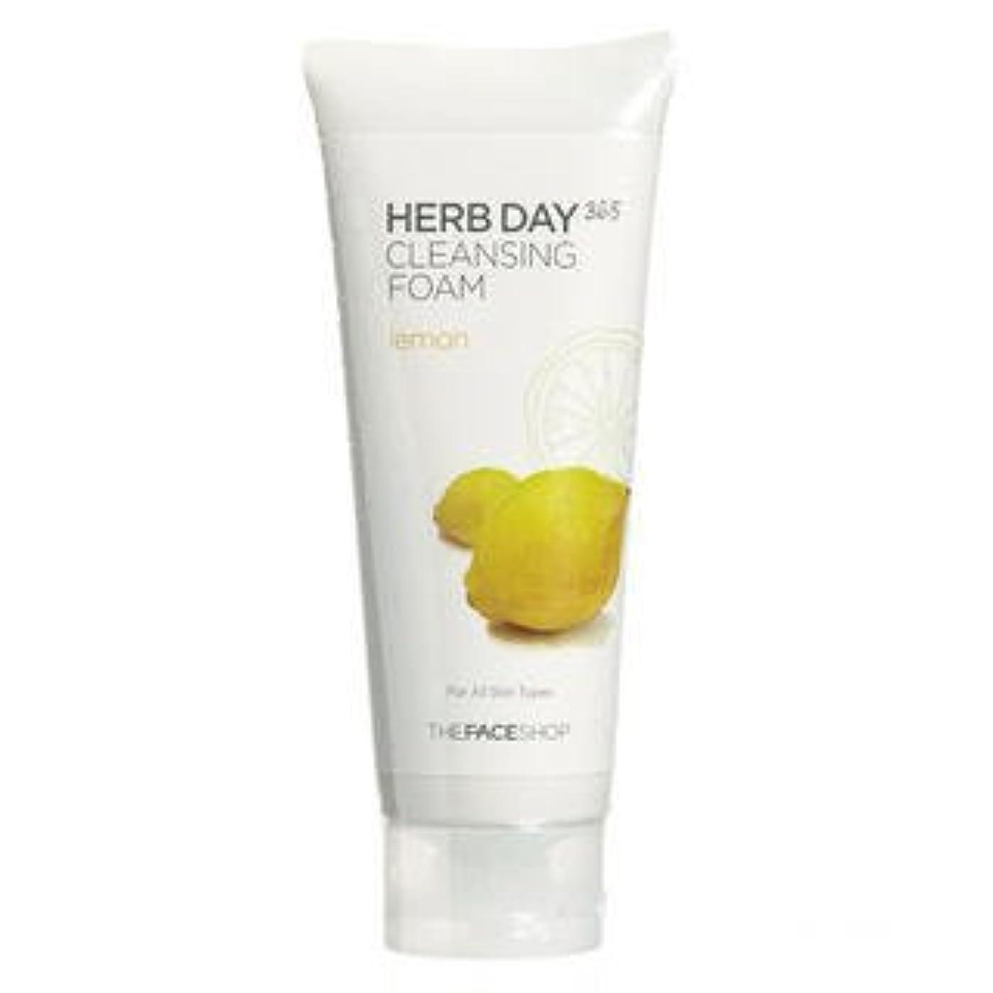 白い拍手するランドリーThe Face Shop - Herb Day Cleansing Cleansing Foam (Lemon)170ml /Made in Korea