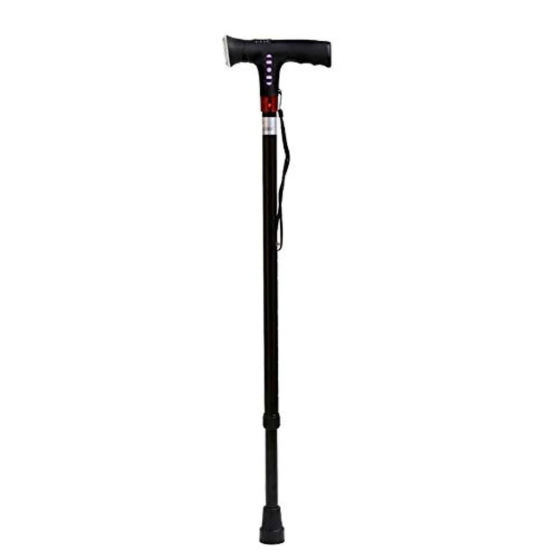 悲しみモードリン旅行高齢者のためのLEDライトスポンジハンドルの調節可能な高さの杖調節可能な折りたたみ杖 両親への最高の贈り物