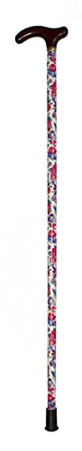 米国ズームインする補償木製1本杖/白地赤花柄 G茶 TA-536-013WT