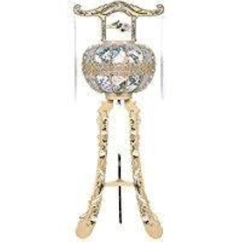 霊前灯 花鳥 木肌 1台 高さ約125cm 廻転筒付 日本製 行灯 盆提灯 八女提灯