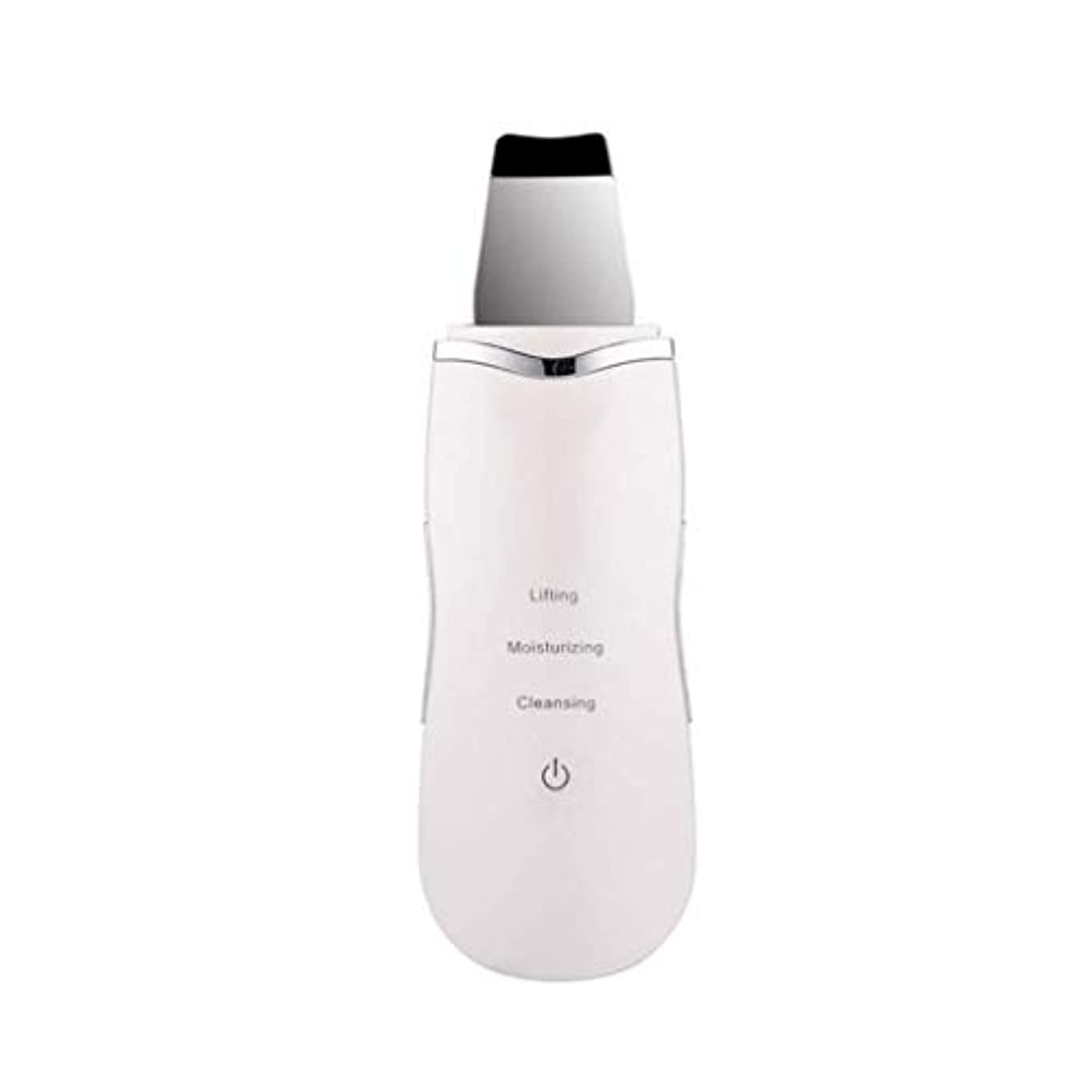 生物学憤る話す電気美容マッサージ器、超音波顔の皮膚ディープクリーナー、イオンマッサージスキンケア美容機器、充電式、洗顔リンクルスキンケア機器 (Color : 白, Size : One size)