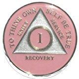 17年ピンクtri-plate Alcoholics匿名medallion- AA Sobrietyチップ