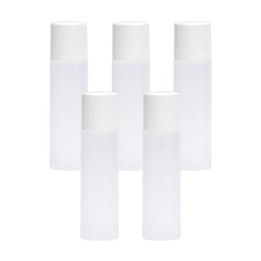 ストレージピクニックをする横たわる白ボトル10ml×5本セット(中栓ノズルタイプ?キャップ付) (プラスチック容器/オイル用空瓶 プラスチック製-PET/空ボトル)