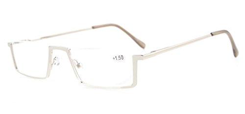 アイキーパー(Eyekepper) 良質 バネ蝶番 テンプル ハーフリム アンダーリム メンズ レディース 男 女 兼用 リーディンググラス シニアグラス 老眼鏡 ケース&クロス付き +2.25 シルバー