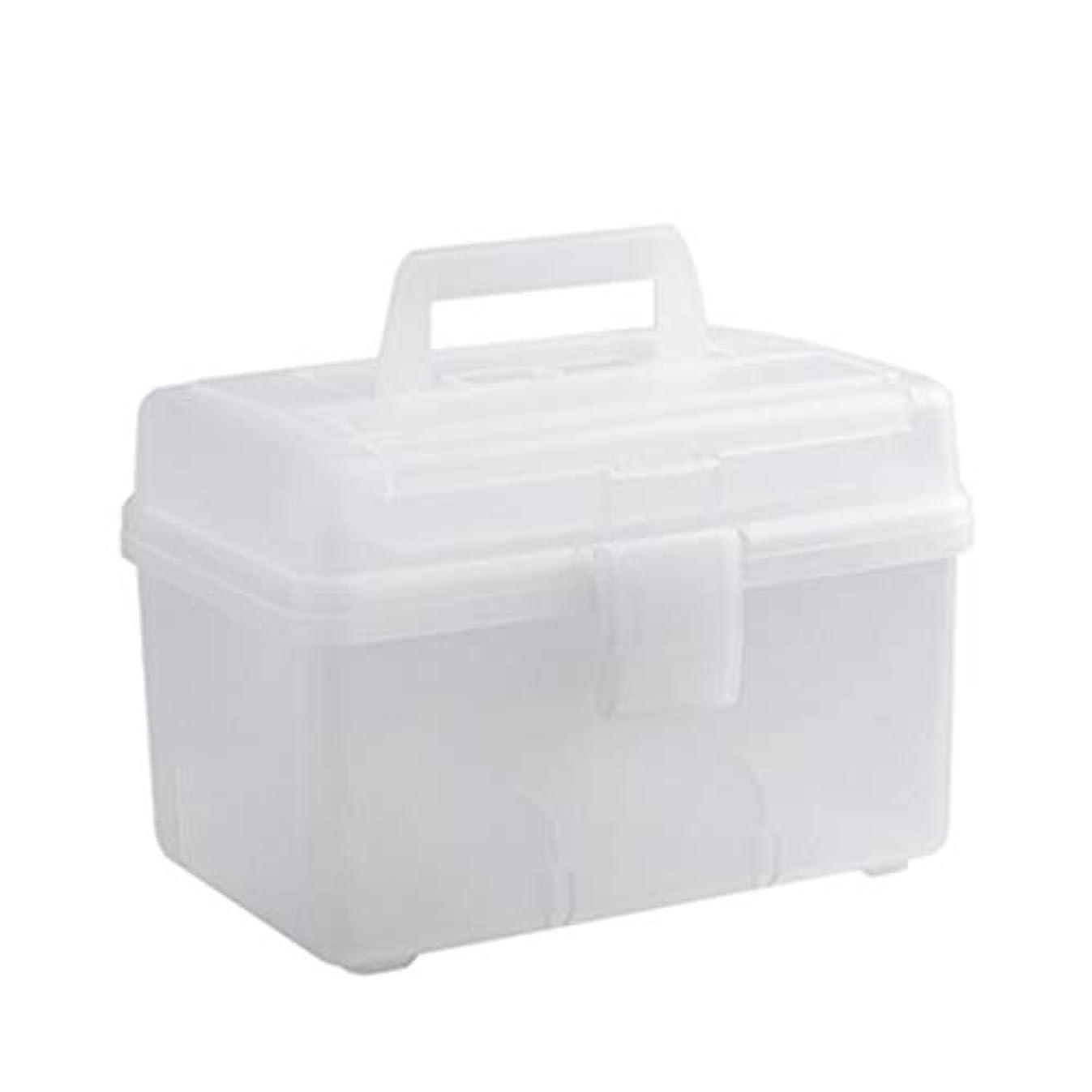 地殻懇願する倉庫医療用キット ポータブル薬箱世帯大容量多層薬収納ボックス3色オプション(クリア、グレー、ホワイト) QDDSP (Color : Clear)