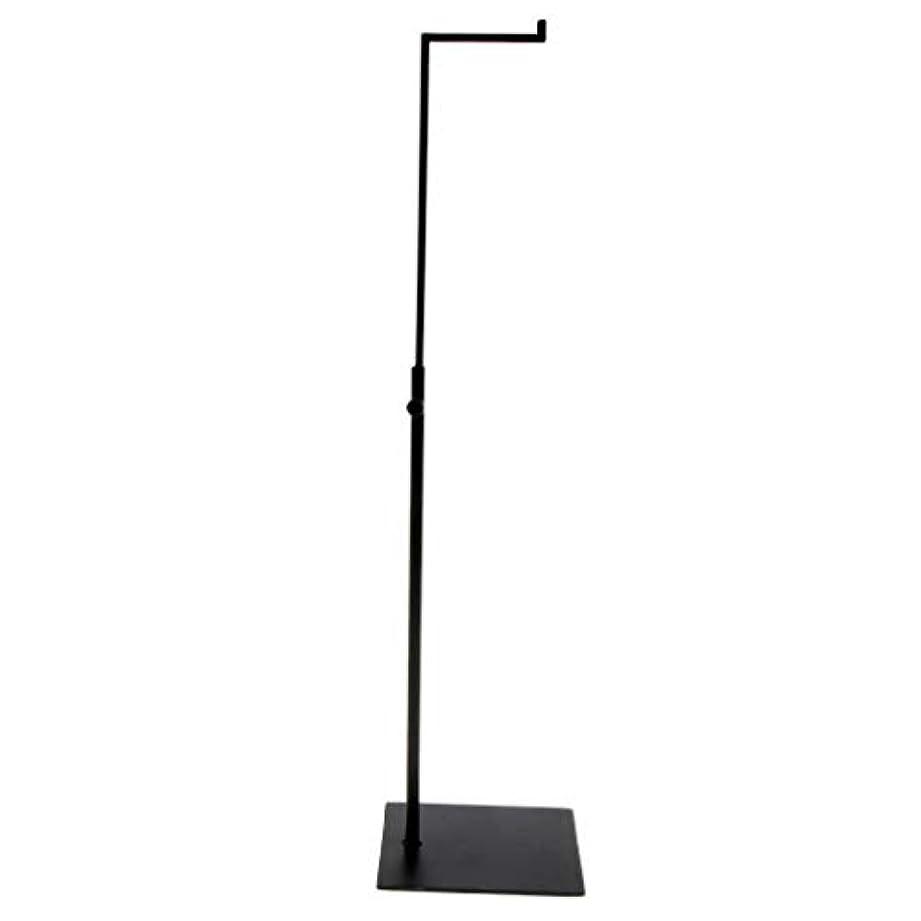 電化する要塞杖バッグスタンド バッグディスプレイ 方形台座 L字型フック ステンレス 調節可能 全4色 - ブラック