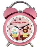 The bear's school くまのがっこう 目覚まし時計 キャラクター ツインベルクロック AC06613KG ピンク AC06613KG