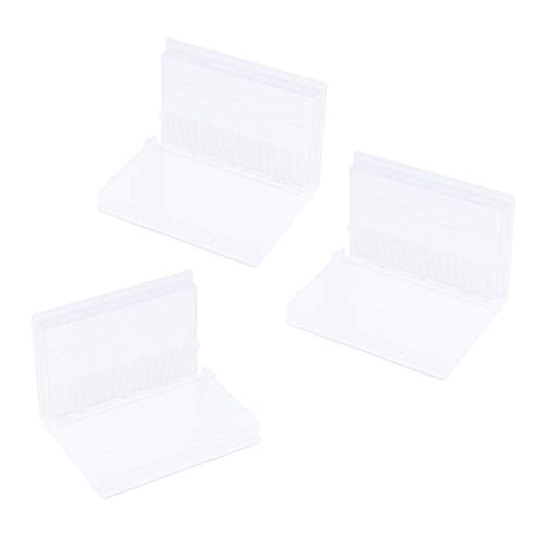 前みすぼらしいホステスTachiuwa プラスチック 収納ボックス 20穴 マニキュアツール ネイルドリルビット スタンド ホルダー 3個入り