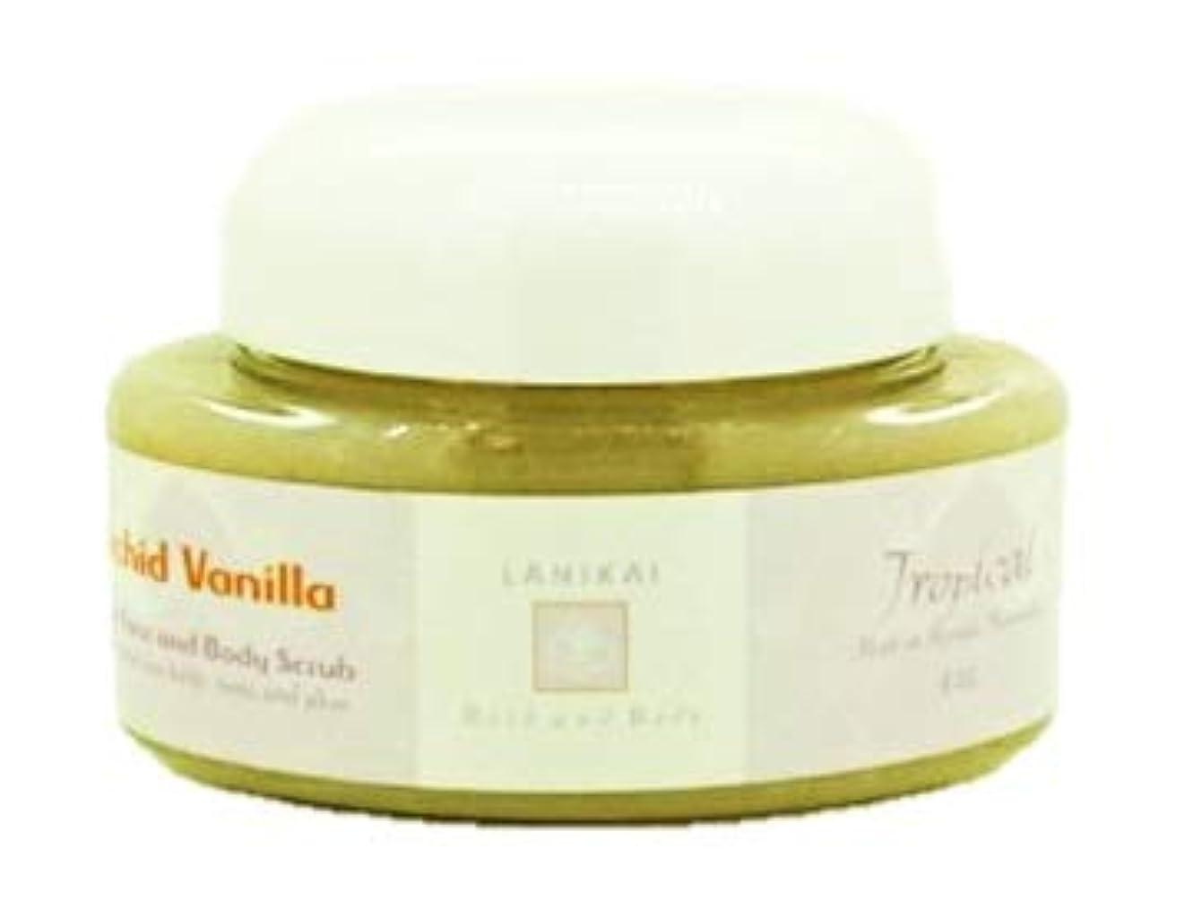 マット円形メーカーLANIKAI Orchid Vanilla Body Scrub ラニカイ オーキッドバニラ ボディスクラブ 4oz
