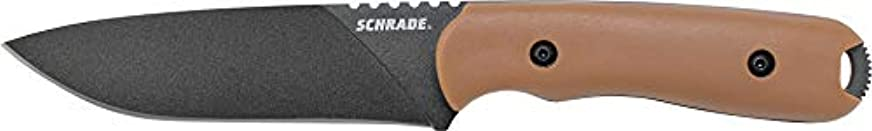 試験文警察署SCHF42D, Desert Givory Handle, Black Plain w/Leather Sheath