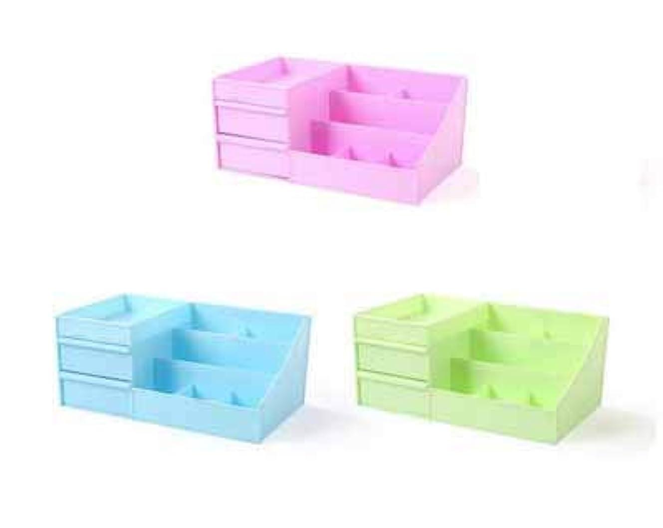 ほこり条件付きスローガン化粧品収納ボックスプラスチックの創造的な家庭用品デスクトップの破片の宝石箱大きな引き出し (Color : グリンー)