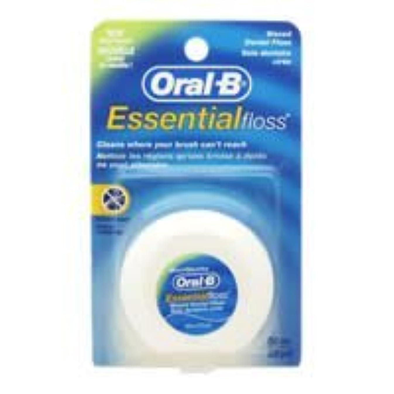 マインド密接に受取人Oral-B Essential Waxed Dental Floss Mint by Oral-B