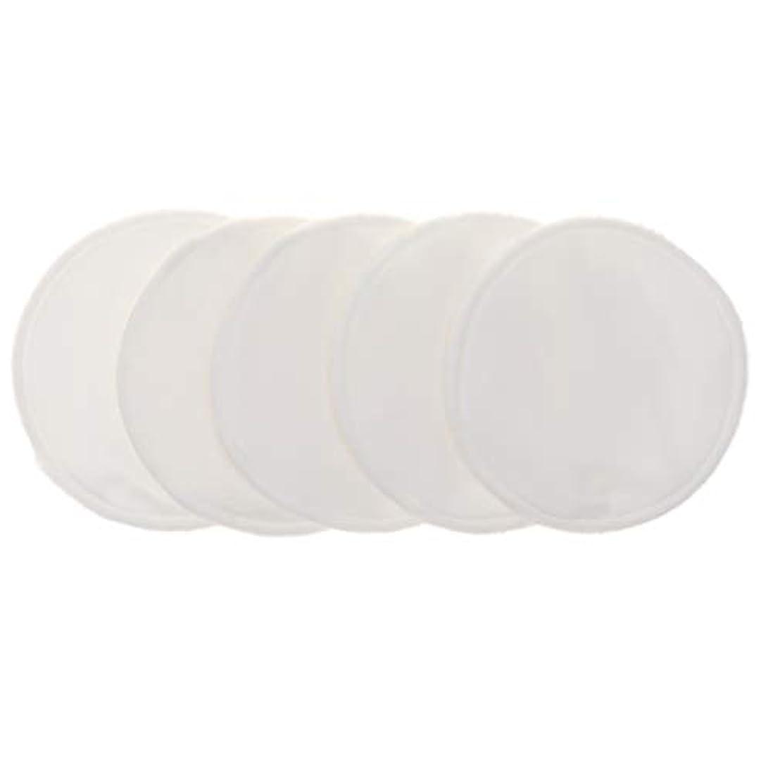 Fenteer 12cm 胸パッド クレンジングシート 化粧水パッド 竹繊維 円形 洗える 再使用可能 5個 全5色 - 白