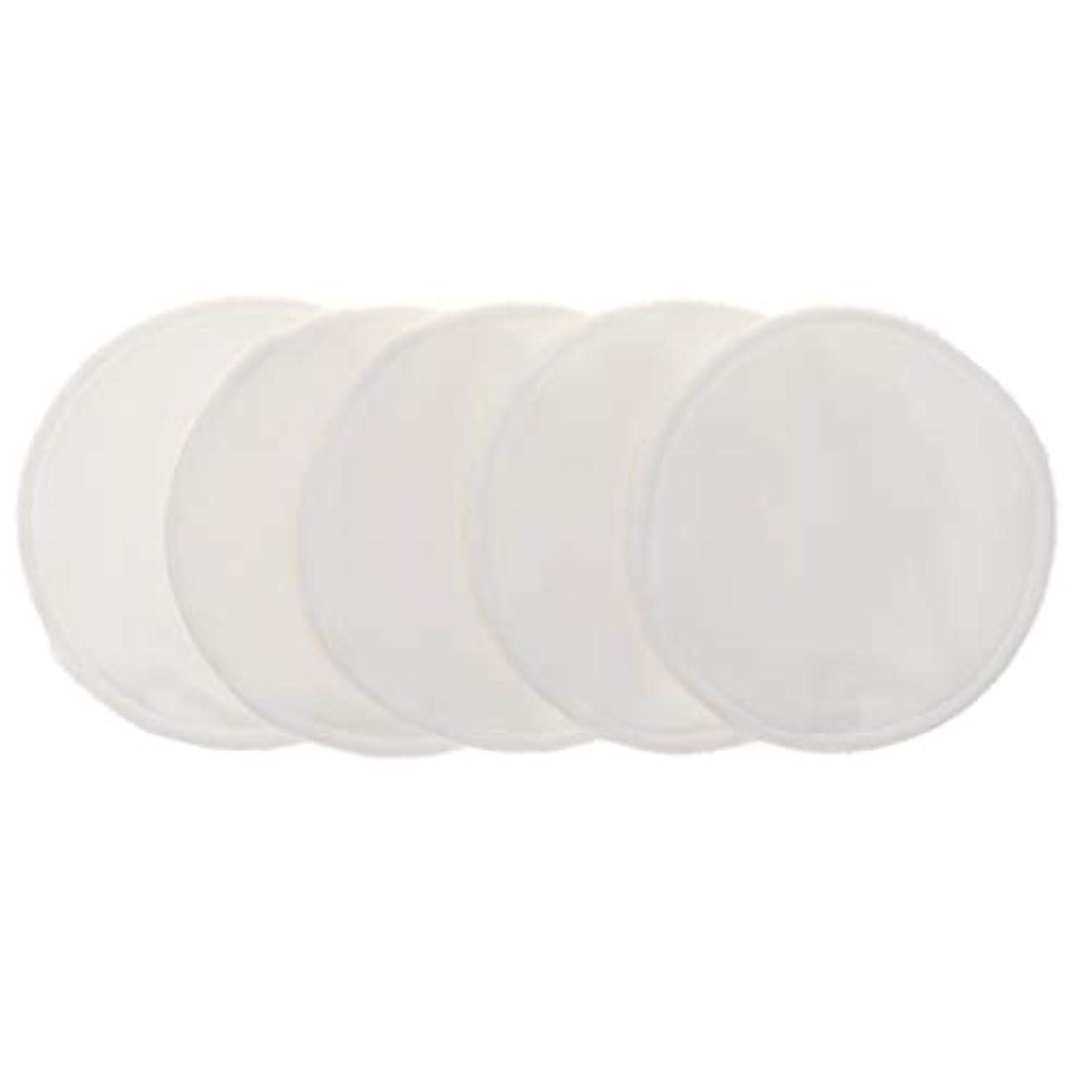右貢献エスカレートFenteer 12cm 胸パッド クレンジングシート 化粧水パッド 竹繊維 円形 洗える 再使用可能 5個 全5色 - 白