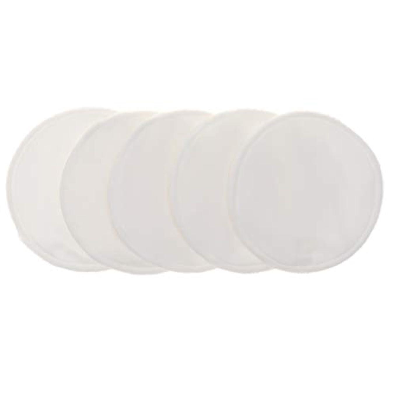 ジャンピングジャック発疹事故12cm 胸パッド クレンジングシート 化粧水パッド 竹繊維 円形 洗える 再使用可能 5個 全5色 - 白
