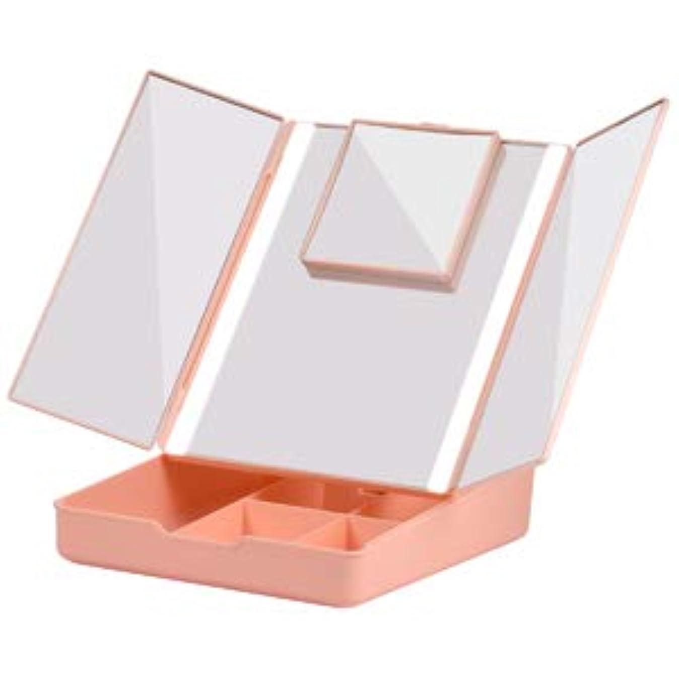 橋使用法はっきりとFascinate 折りたたみ式三面鏡 化粧鏡 7倍拡大鏡付き 24個LED スタンドミラー USB&電池式 角度調整可能 収納ケース付き