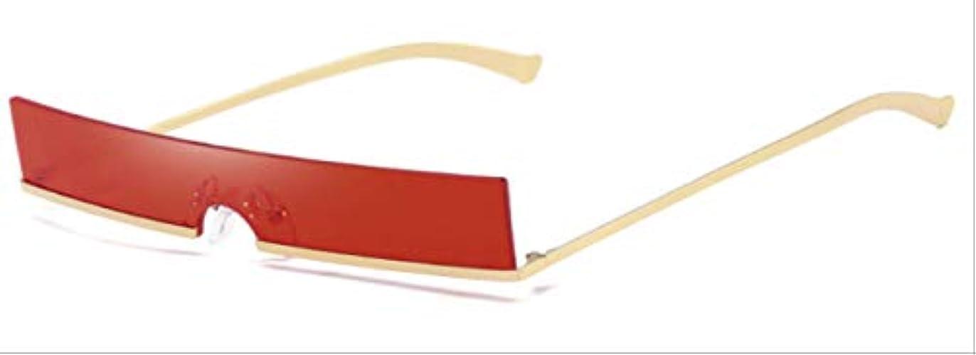 並外れて接地メッセンジャーAMKLLEN  ファッションハーフフレーム小さな長方形サングラス女性 人気のある赤い色合いファッションヴィンテージエレガントなスタイルサングラス  赤