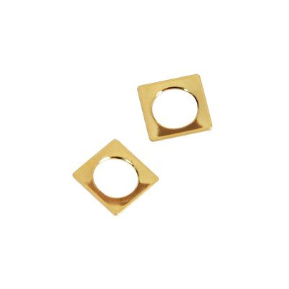 増幅器適度な寄生虫ピアドラ スタッズ スクエア 中抜き(ラウンド)4mm 50P ゴールド