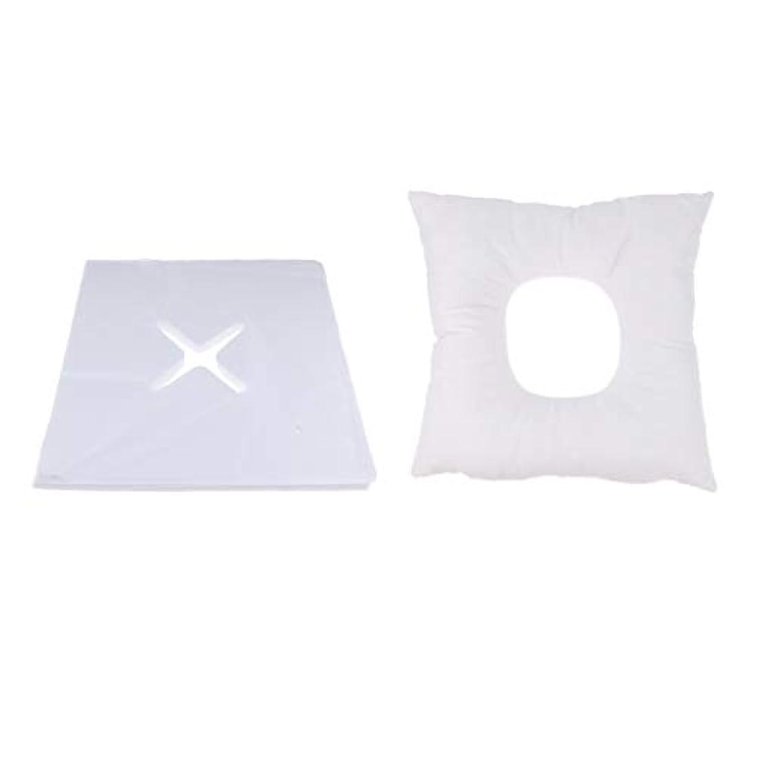 バリア雇用関連するFenteer マッサージ枕 顔枕 フェイスマット フェイスピロー 200個使い捨てカバー付 マッサージテーブル用 快適