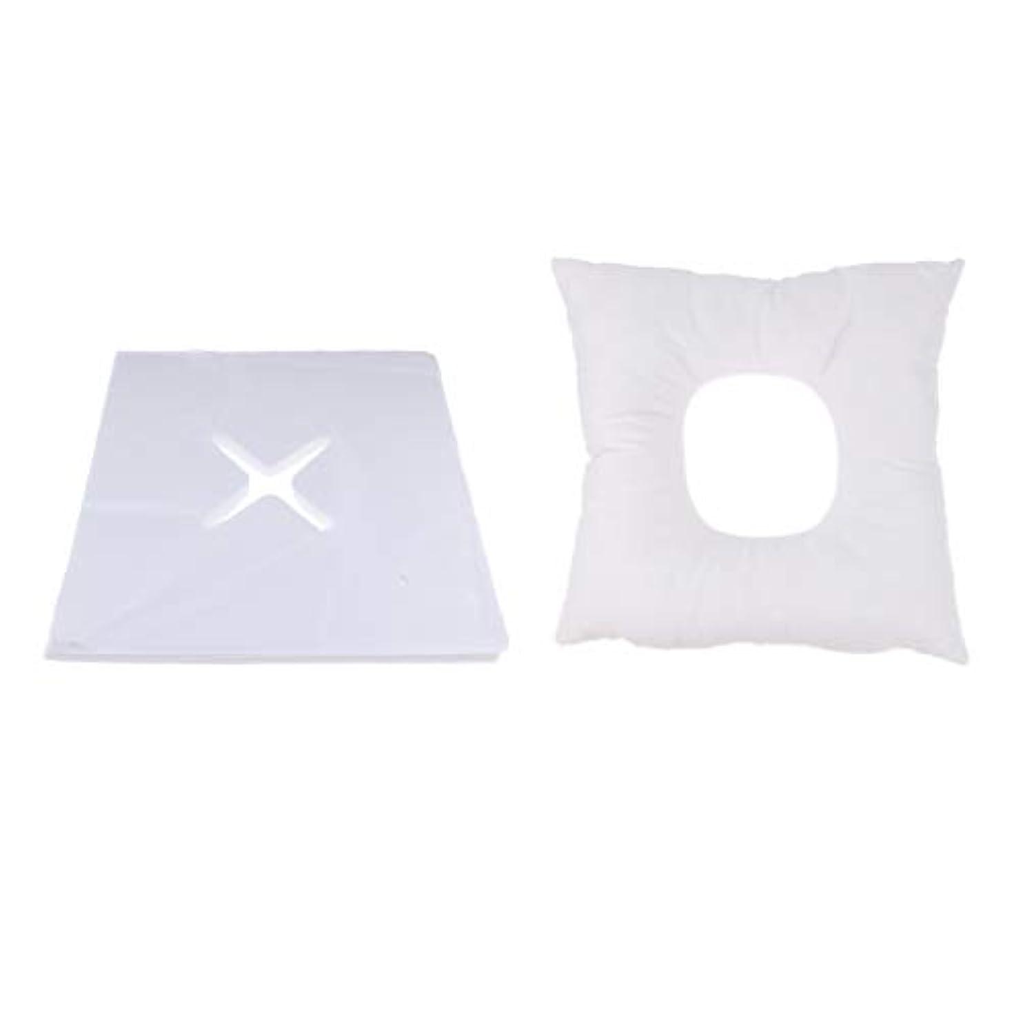 リダクター深さ驚かすFenteer マッサージ枕 顔枕 フェイスマット フェイスピロー 200個使い捨てカバー付 マッサージテーブル用 快適