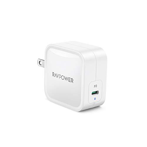 RAVPower 61W USB-C 急速充電器(最小 最軽量/2019年7月時点)【GaN (窒化ガリウム) 採用/折畳式/PD 3.0対応】iPhone XS/XS Max/XR/X、GalaxyS9、MacBook Pro、iPad Pro、Nintendo Switchその他USB-C機器対応 RP-PC112(ホワイト)