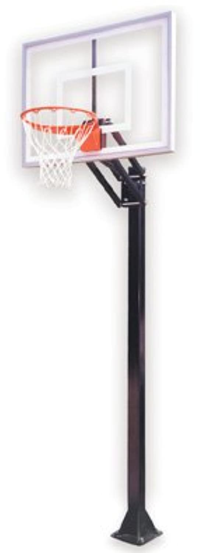 最初チームChamp ii-bp steel-acrylic in ground調整可能バスケットボールsystem44、Siennaオレンジ