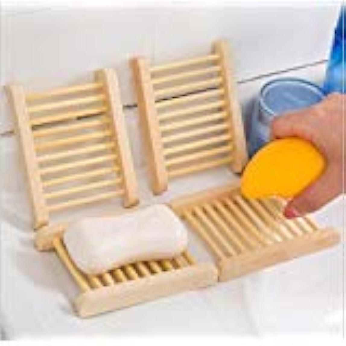 製造ミシン印刷するKINGZUO ソープトレー せっけんトレー 石鹸置き石鹸置き 石鹸ボックス ソープディッシュ 水切り お風呂 バス用品 木製 4個入り