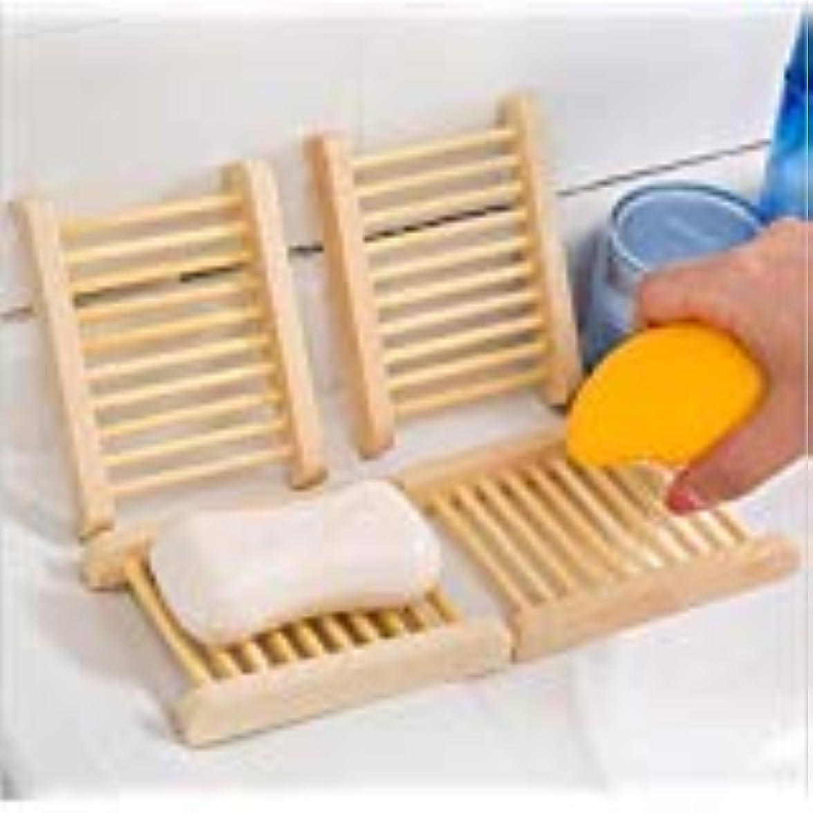 広いコントラスト医療のKINGZUO ソープトレー せっけんトレー 石鹸置き石鹸置き 石鹸ボックス ソープディッシュ 水切り お風呂 バス用品 木製 4個入り