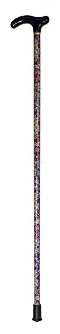 数学的なゆるいスペア木製1本杖/楓 紺 赤青花柄 G木製 グレー TA536030