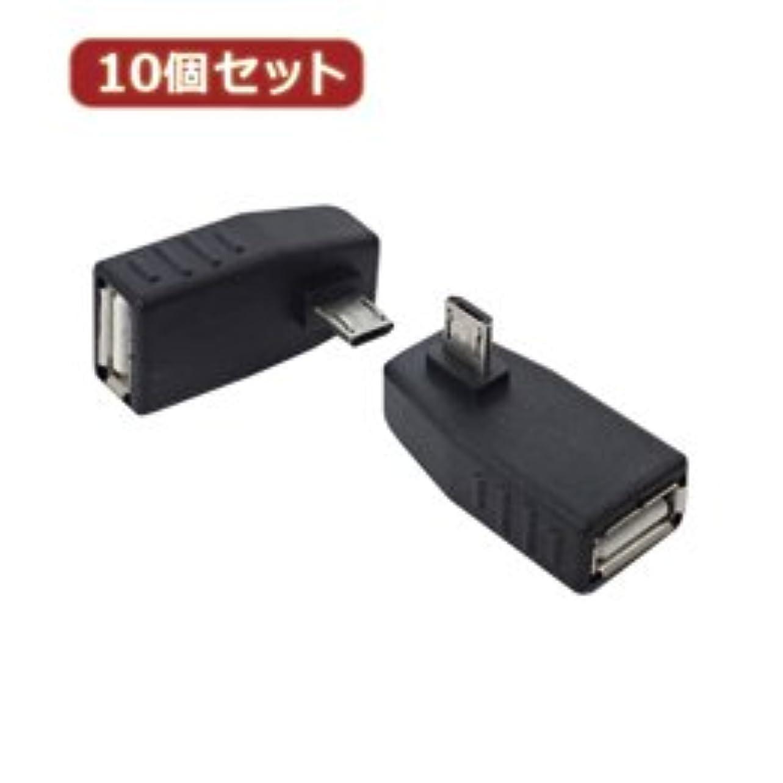 国籍バイバイ粒【まとめ 10セット】 変換名人 10個セット 変換プラグ microHOST 右L型 USBMCH-RLX10