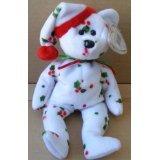 海外直輸入 テディベア 正規品 キッズ 大人 くま 人形 フィギア ぬいぐるみ TY Beanie Babies 1998 Holiday Teddy Bear Stuffed Animal Plush Toy - 8 1/2 inches tall - White with Holly Leaf Design and Santa Hat【JOY】