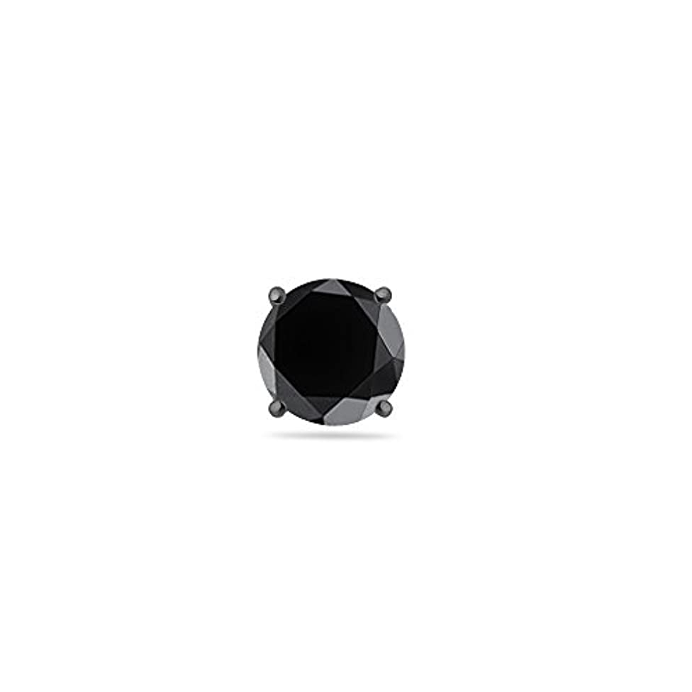 本気ホイットニー意見Holiday Deal – 1 1 / 4 ( 0.21 – 0.27 ) CTSの5.76 – 7.30 MM AAラウンドブラックダイヤモンドメンズスタッドイヤリングで14 K Blackenedホワイトゴールド{...