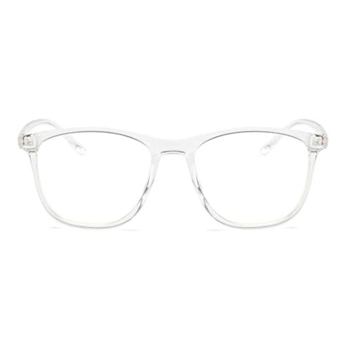 屈辱する始める第五韓国の学生のプレーンメガネ男性と女性のファッションメガネフレーム近視メガネフレームファッショナブルなシンプルなメガネ-透明ホワイト