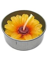 アロマキャンドル  ミニ お花 薄オレンジ 鉄の器入り 器直径4cm アジアン雑貨