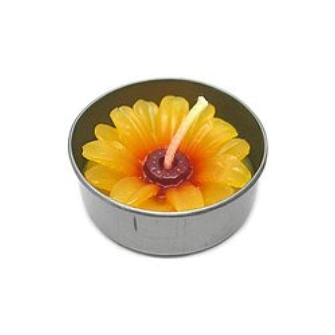 ロバ種類に向かってアロマキャンドル  ミニ お花 薄オレンジ 鉄の器入り 器直径4cm アジアン雑貨