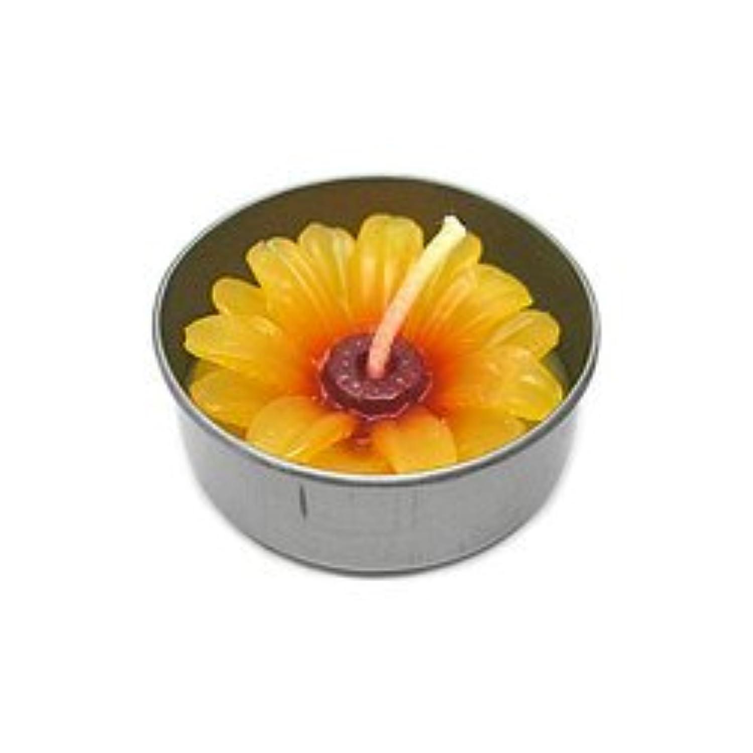 チャネル気づく晴れアロマキャンドル  ミニ お花 薄オレンジ 鉄の器入り 器直径4cm アジアン雑貨