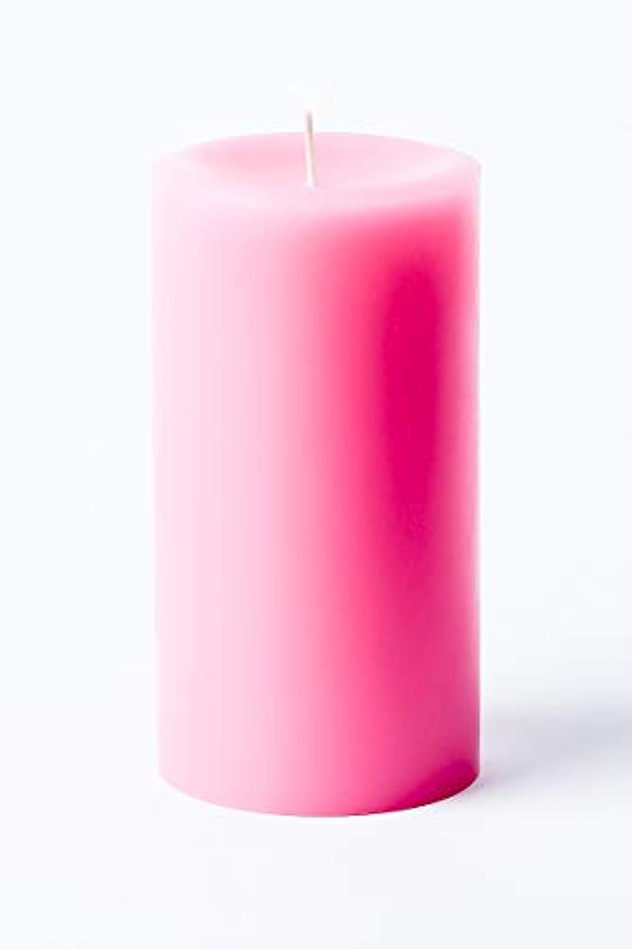 ウガンダテクスチャー医薬品(Pink) - 7.6cm x 15cm Hand Poured Solid Colour Unscented Pillar Candles Set of 3 - Made in USA (Pink)