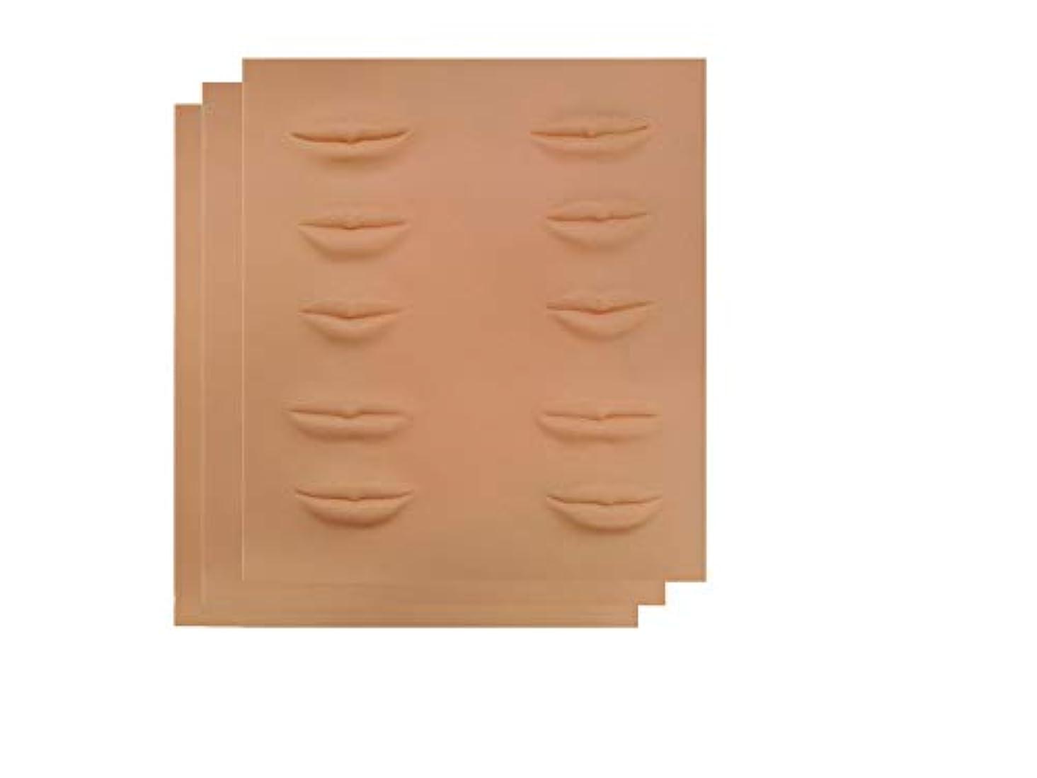 マルコポーロようこそ非アクティブアートメイク 入墨 タトゥ メイク 練習 シートマット リップタトゥー 練習ゴムシートアートメイク材料 リップ (1枚~10枚) (3枚)