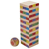 ECR4Kids Risky Rainbow Tumble Tower for Kids, Wood Stacking Block Game with Colorful Dice and Storage Bag, Junior 10