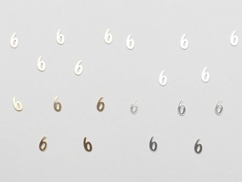 ソフトウェア専制欲望[リトルプリティ] メタリックネイルパーツ 数字 6 シルバー