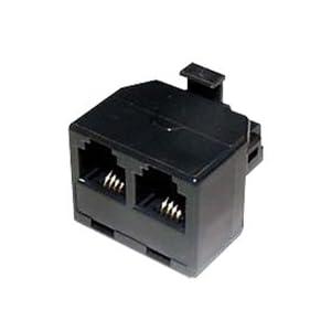 ミヨシ MCO 電話機用6極4芯モジュラー分配アダプタ ブラック TA-42BK