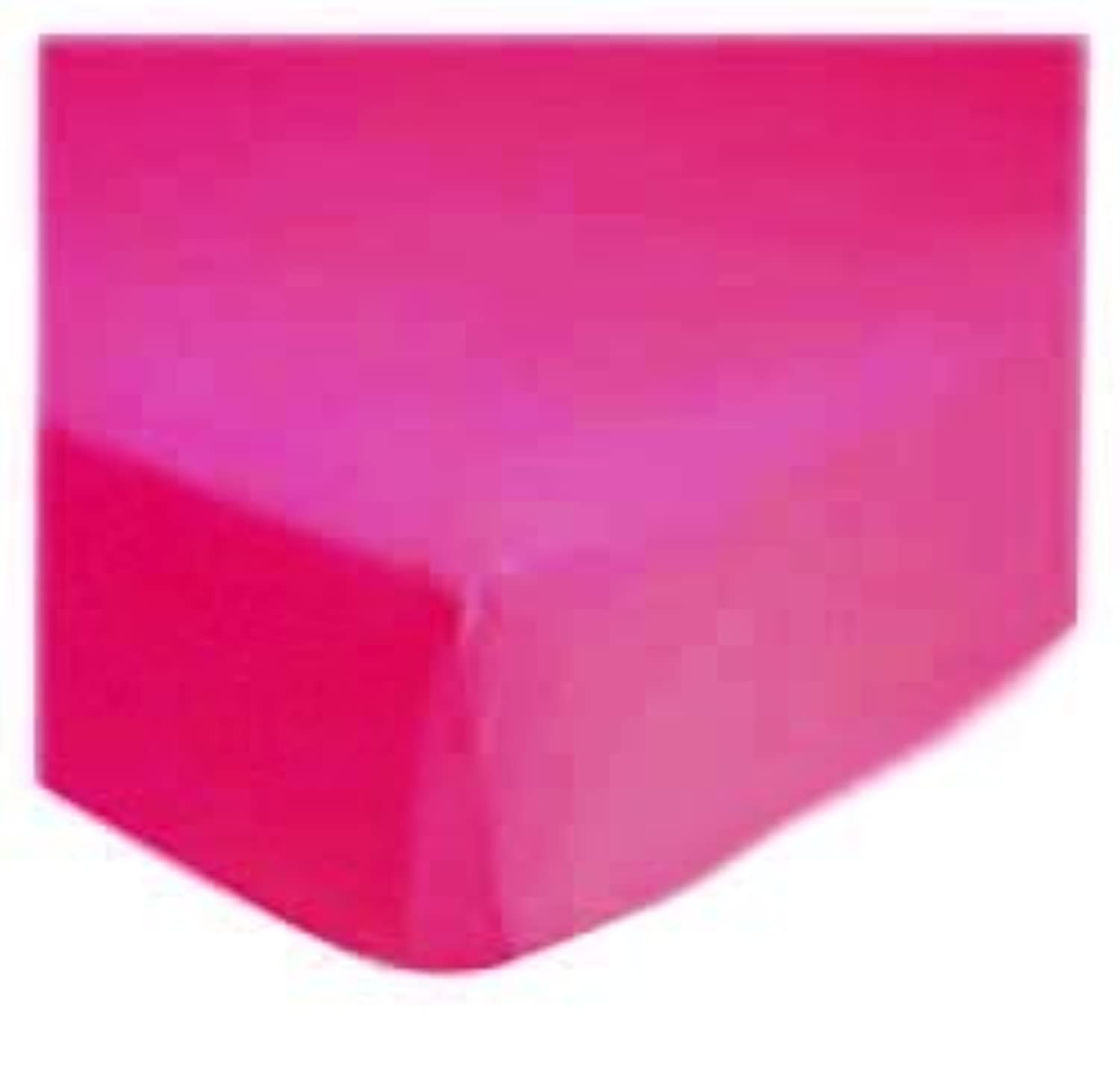 SheetWorld Fitted Portable / Mini Crib Sheet - Hot Pink Jersey Knit - Solid Colors by sheetworld
