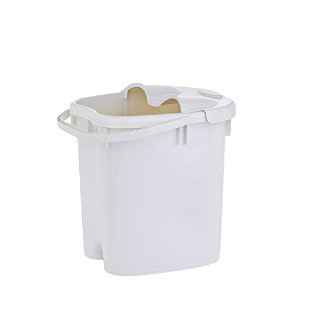 顕著スロットアリフットバスバレル- ?AMTシンプルな和風マッサージ浴槽ポータブル足湯バケツプラスチック付きふた保温足浴槽 Relax foot (色 : 白, サイズ さいず : 39cm high)