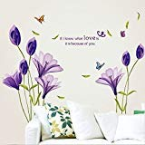 LiveGallery Beautiful Lovely Lily Flowers Wall Decals Removable DIY Butterfly Flower Vines art Decor Wall Stickers Murals for Living room TV Background Kids Gilrs rooms Bedroom Decoration (Purple)