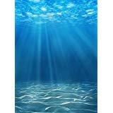 laeacco 3x 5ftシンビニール写真背景StudioプロップDeep Underwater Blue Ocean Backdrop