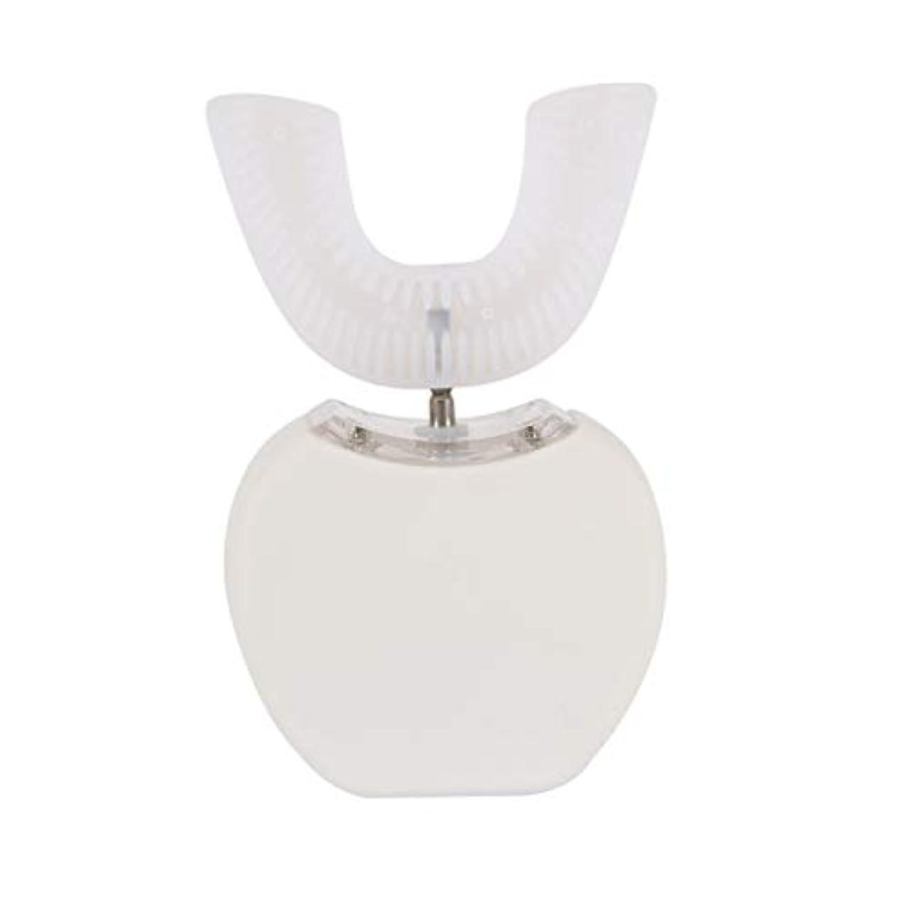 保険をかける先覗く360°ワイヤレス充電怠惰な自動ソニックシリコーン電動歯ブラシ - ホワイト