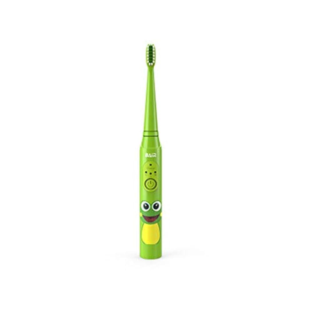 自然ゴムパフ子供のためのインテリジェントな子供用電動歯ブラシ、充電式音波電動歯ブラシ、明るい白い歯、歯茎のケア、交換可能なブラシヘッド-green