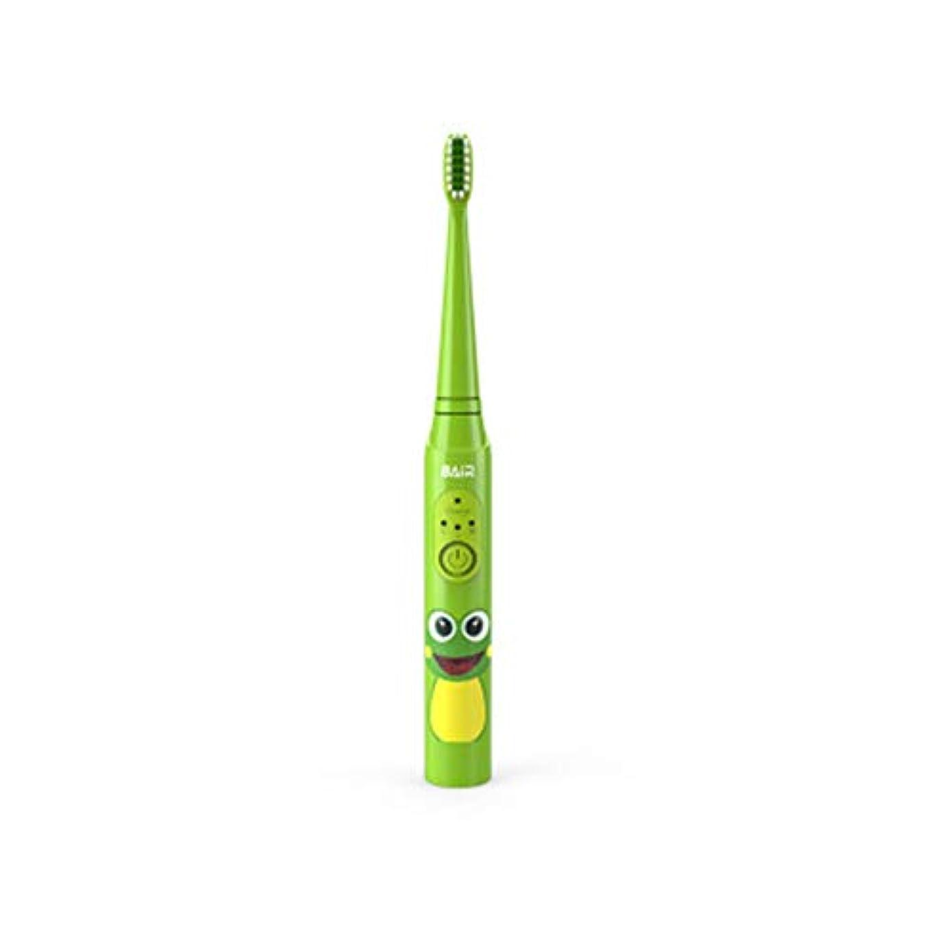 順応性のある注釈歯子供のためのインテリジェントな子供用電動歯ブラシ、充電式音波電動歯ブラシ、明るい白い歯、歯茎のケア、交換可能なブラシヘッド-green