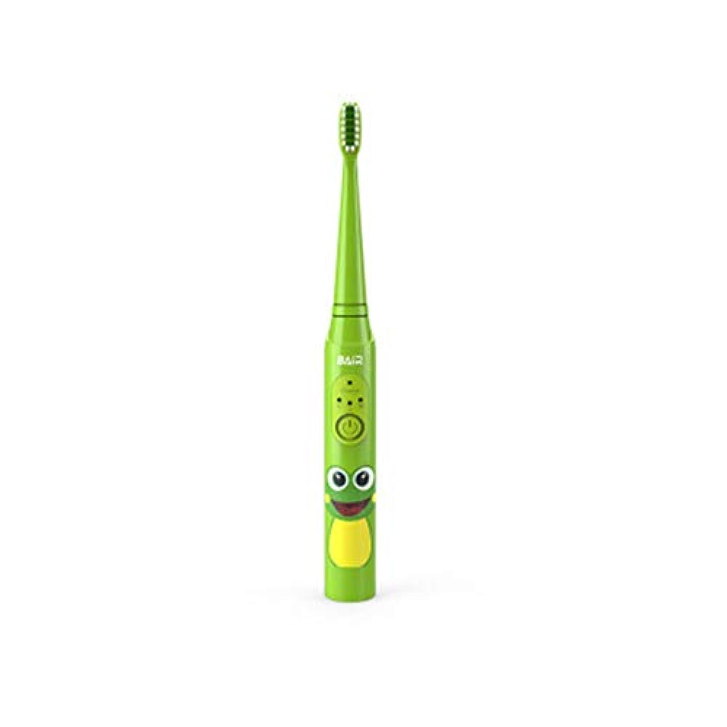 なくなる巨大な境界子供のためのインテリジェントな子供用電動歯ブラシ、充電式音波電動歯ブラシ、明るい白い歯、歯茎のケア、交換可能なブラシヘッド-green