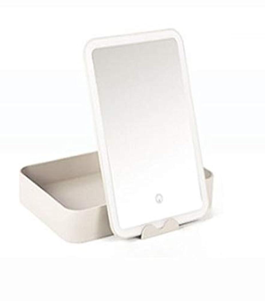 フィクションジャンプする肩をすくめる化粧鏡、大容量収納ボックス化粧ギフト付き白色LEDライト化粧鏡